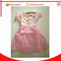 in stock baby girl birthday party fancy dress princess crown dress for girls