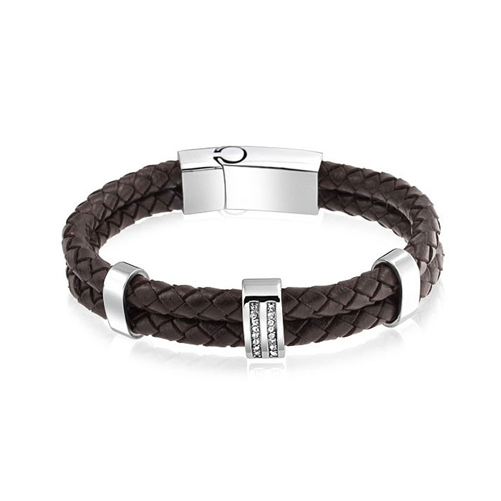 Wholesale 2016 new design brown braided mens leather bracelet