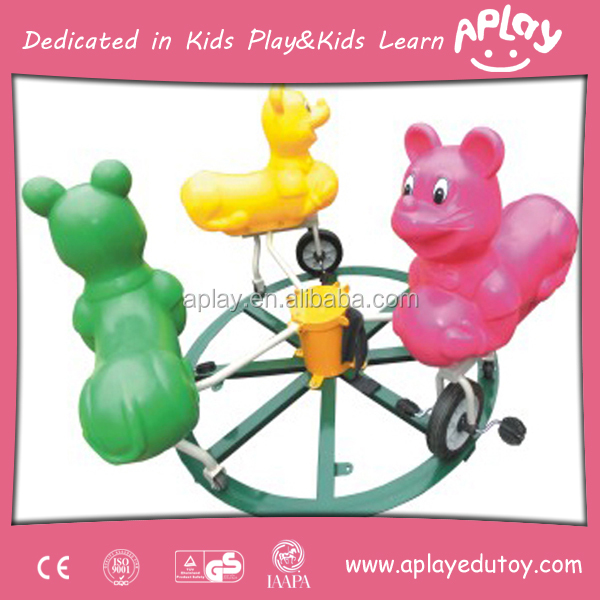 Three Bear On Wheel Kids Outdoor Roundabout Rider Merry Go Round Carousel Sale