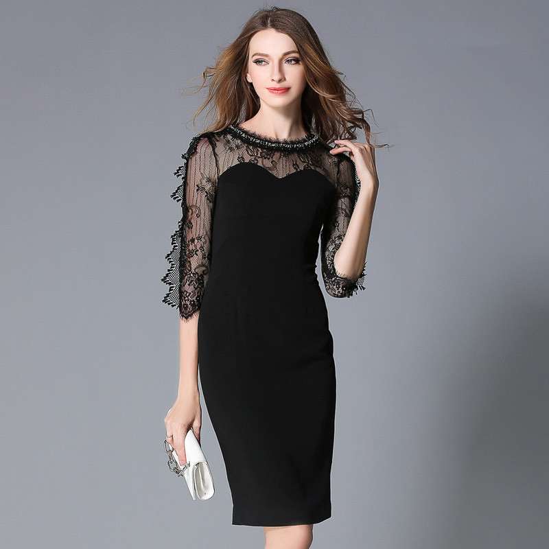 STKKOO Wholesale Europe and America Women Fashion Lace Patchwork Three Quarter Sleeve Sexy Slim Black Sheath Dress