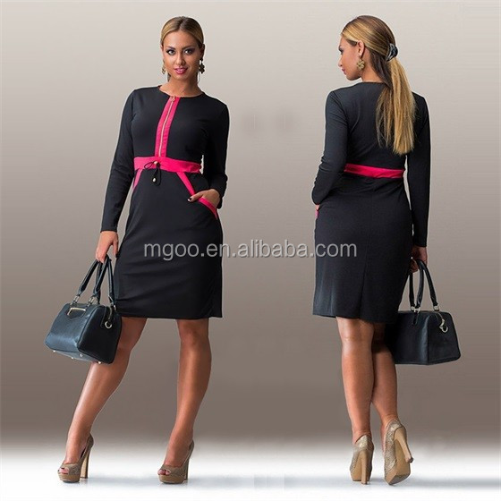 Wholesale Cheap Price Women Plus Size Elegant Dress Long Sleeves Pencil Contrast Black Color Dress