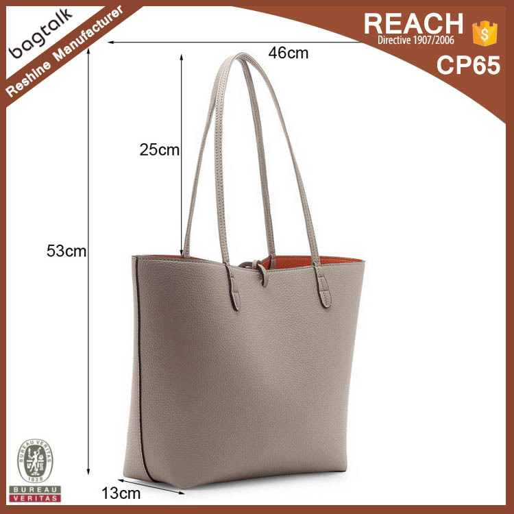 Popular Artificial Leather Material Women Tote Bag Faux Leather Handbag in High Quality