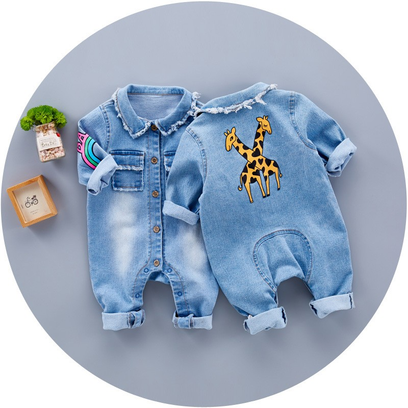 S16852A 2017 Newborn Baby Clothes One Pieces Baby Denim Romper
