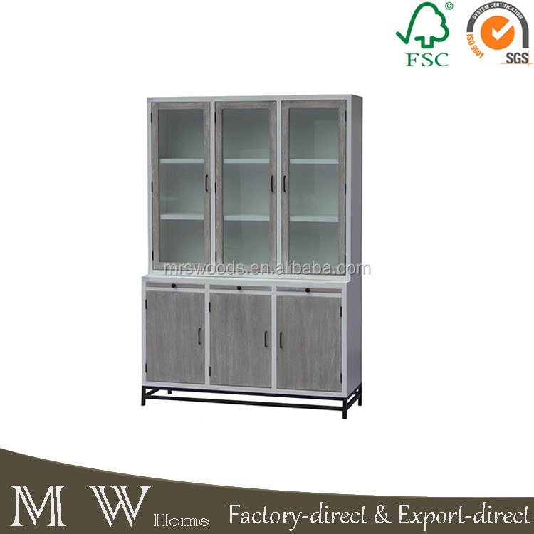 wholesaler metal frame wooden painted glass door display <strong>cabinet</strong> console <strong>cabinet</strong>