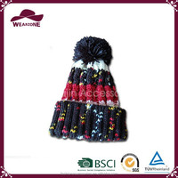 Colorful thick warm knitted beanie hat for children