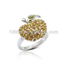 Exquisite shining crystal Ring, newest silver apple ring jewellery