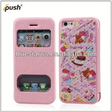 For iphone5 leather case Newest Double Visual Window PU Leather Case For Iphone5 Flip Cover Case