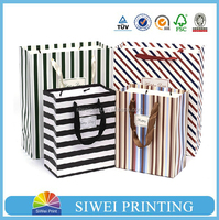 China factory recyclable custom black and white striped gift bags for clothing shop