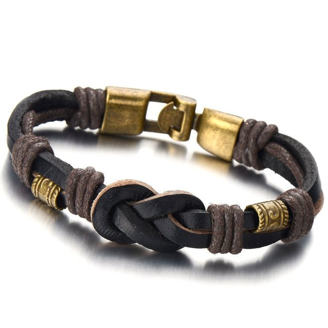 Gold Plating Beads Nautical Knot Brown Leather Wristband Bracelets