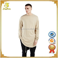 Hiphop longline oversized t shirt 2016 men fashion tshirts long sleeve extended curved hem tee shirt