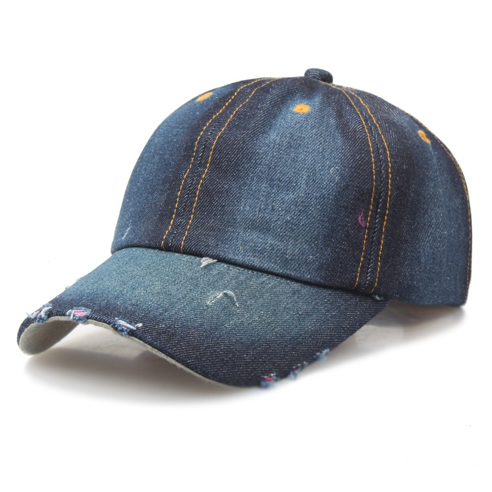 Custom Blank Jeans Washed Plain Distressed Denim Worn-out Dad Baseball <strong>Cap</strong>