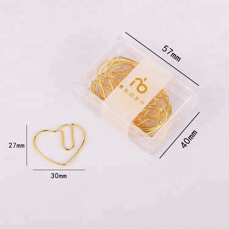 Best selling colorful gold plated heart shaped paper <strong>clip</strong>