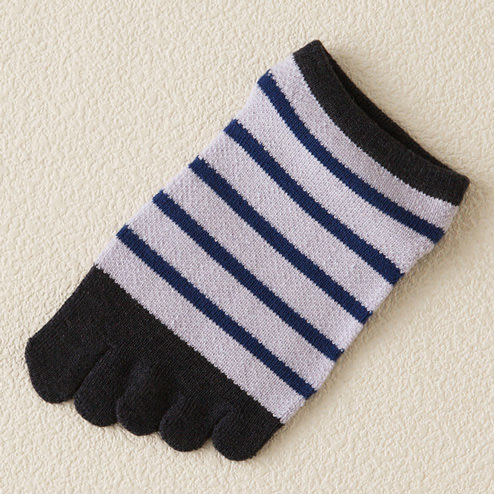 Japanese OEM Custom Design Mature High Quality Cute Girls Blue Stripes 100% Cotton Knitting Five Fingers Socks