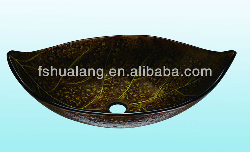 2012 Hand-painted Leaf shape Glass Wash Basin, Vessel Sink HL1251