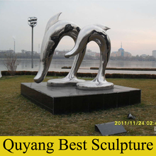 Square Decoration of Stainless Steel Dolphin Statue Garden Sculpture