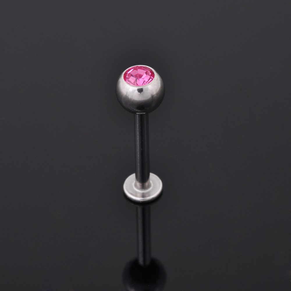 Epoxy Heart Shaped jewelled Madonna Labret lip piercing stud ring