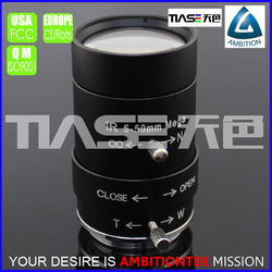 "1/3"" 5-50mm HD resolution F1.6 manual zoom and focus Iris cs Infrared optical lens"