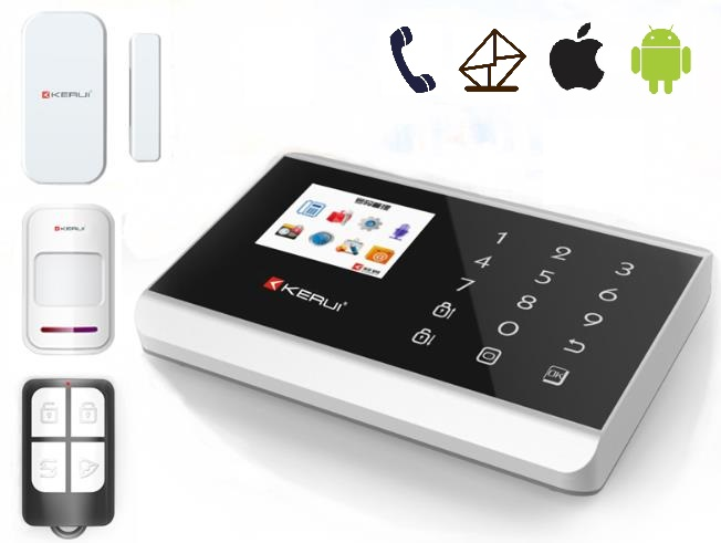 Android App alarm system,Russia language gsm alarm touch screen--wireless 99zone advanced alarm with pir sensor(KR-8218G)