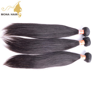 Double weft human hair weaving wholesale China gold supplier 8A raw straight hair wedding hair accessories