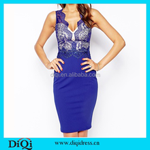 Bangkok clothes royal blue colour empire style dress pattern lace bodycon dress Bandage dress 2015 for women