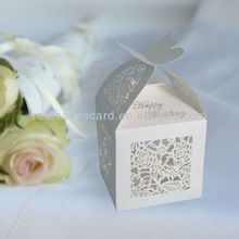 Red Leaves Laser Cut Happy Wedding Favour Boxes FB1301-02