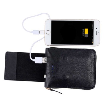 Genuine Leather Men Wallet with 3000 mAh Movable Power Multifunction Purse Men Wallets