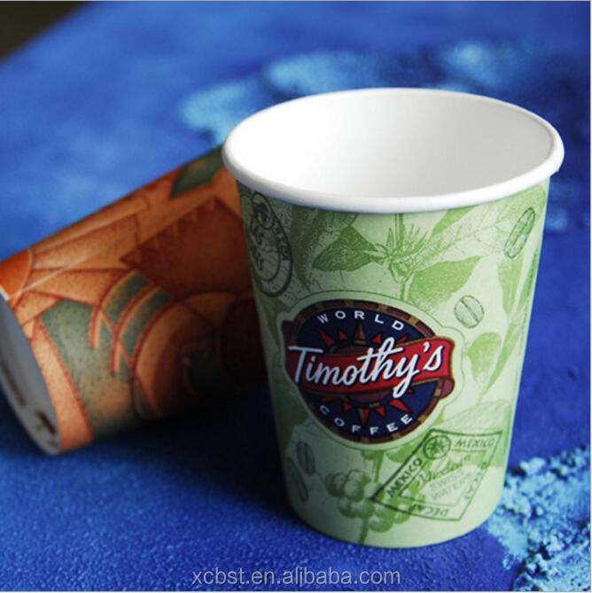 Eco-friendly Flexo Water Based Ink printed paper cup for hot coffee