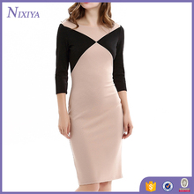 Wholesale Long Sleeve O-Collar Splicing Selim Office Lady Wear Dress