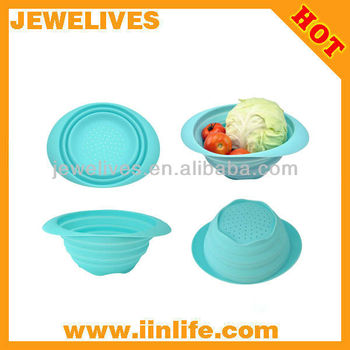 blue silicone folding basket,folding bowl