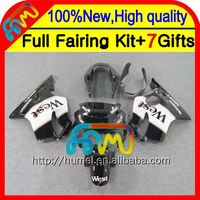 7gifts For HONDA CBR600F4 99-00 Black white Fairings 21CL17 CBR 600F4 Black West CBR600 F4 CBR 600 F4 99 00 1999 2000 Fairing