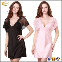 Ecoach Wholesale OEM Ladies Lace Shoulders V-Neck Sexy Transparent Low-Cut Smooth Sleepwear Dress
