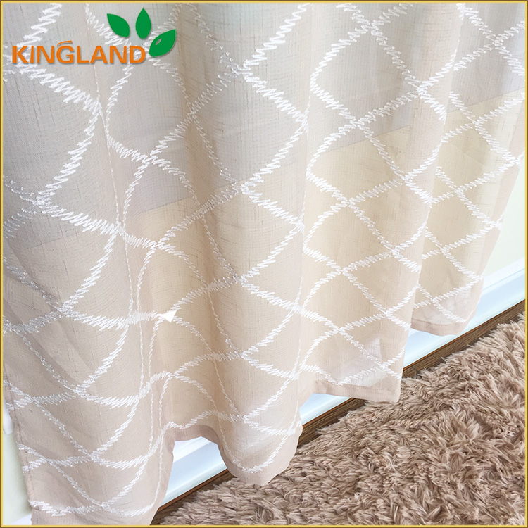 2015 new desigh and popular cheap good quality top level cotton lace embroidery curtain fabrics