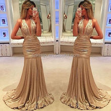 Gold Sequins Deep V Neck Sexy Evening Dress Made in China