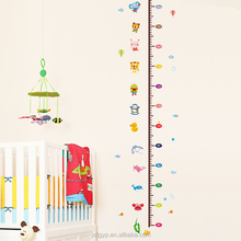 Cartoon Animals Height Measurement Wall Sticker Growth Chart for Kids Room Adornment