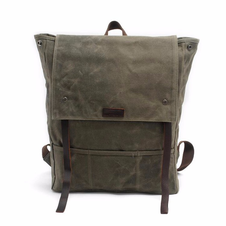 New Waxed Canvas Mens Backpack Bookbags Vintage Travel Laptop Backpack