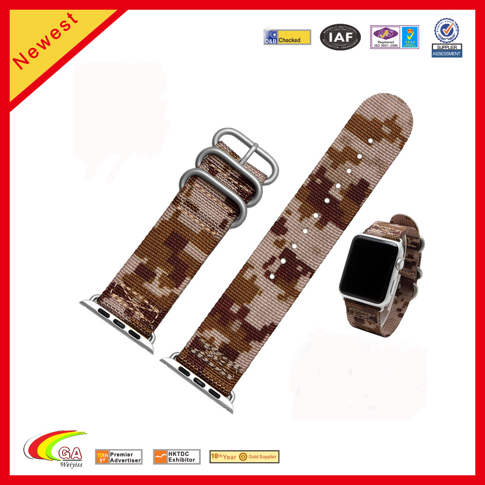 cheap custom fabric printing military camouflage nylon watchband for apple watch