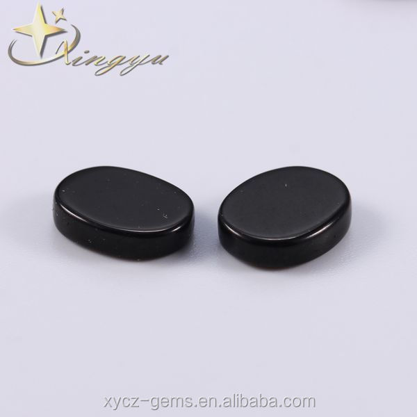 Oval Double Flat Faces Black Glass Gems