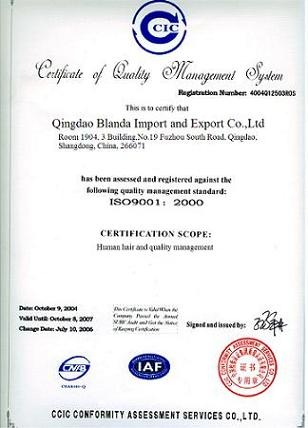 Cerfificate of Quality Management System
