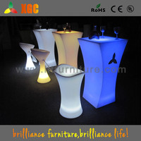 polyethylene table top round/Newly design led table for bar/stand up led tables with round glass top