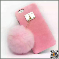 Cell phone case wholesale plush ball hairy PC phone case for iphone 6