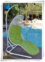Patio rattan wicker white handwoven body shaped hanging swing chair