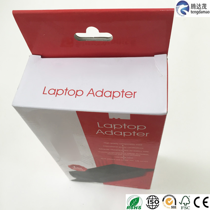 high quality New Design laptop adapter packaging paper box with hand hole
