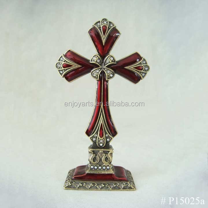 Special Design Red Enamel Color Standing Cross with White Rhinestones(P15025a)