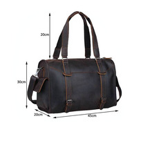 Brown Crazy Horse Leather Duffle Bags for Men Weekender Travel Luggage