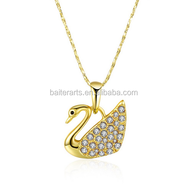 Wholesale New Pave Setting Cubic Zirconia CZ Yellow Gold Plated Swan Pendant Necklace