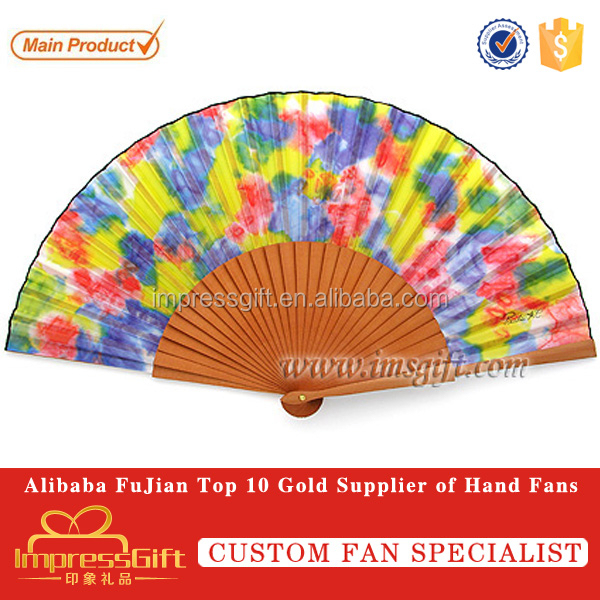 Personalized camouflage Style Fabric Wooden Ribs Hand Folding Fan
