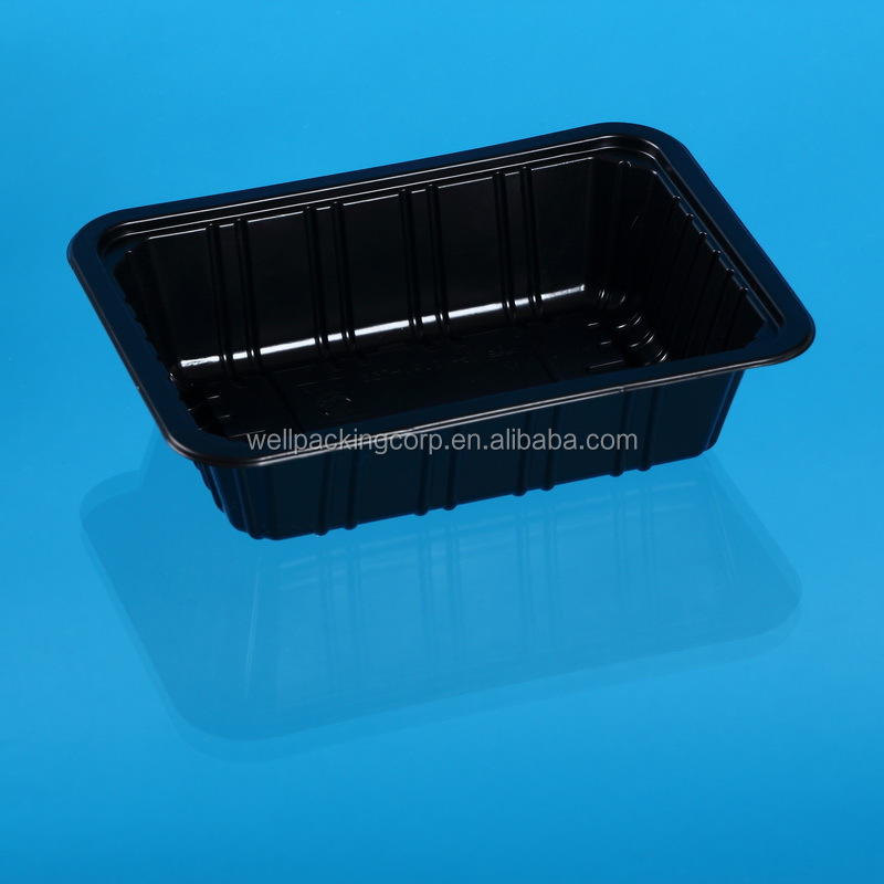 Popular Disposable Black Plastic meat, chicken and fish tray