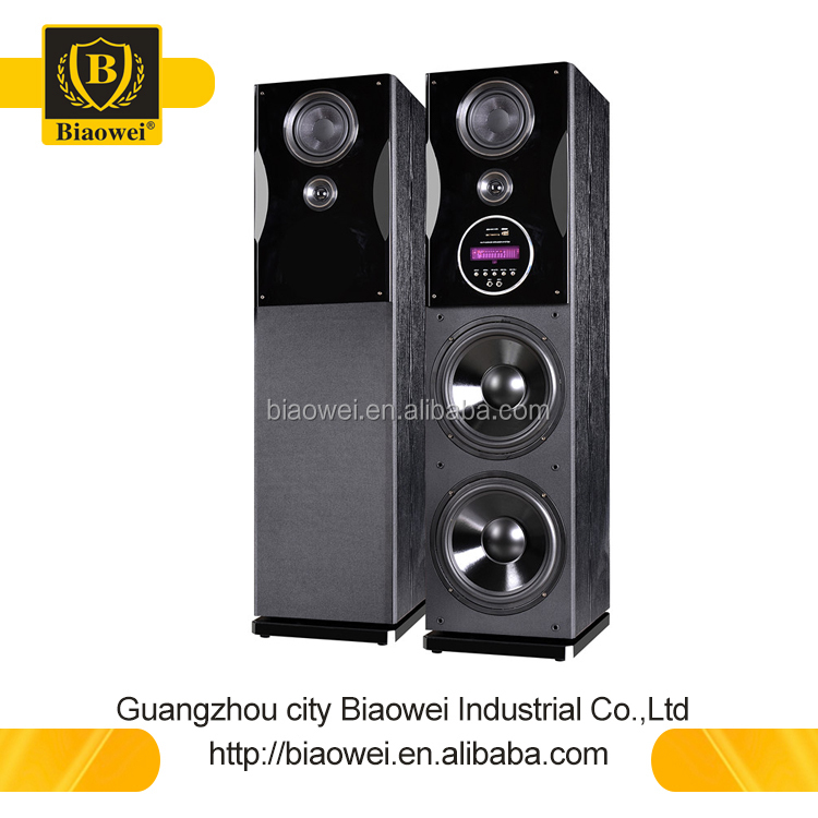 Double 10 inch 2.0 active amplifier tower speaker with optical