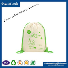 Promotional Imprinted Canvas Tote Drawstring School Bag