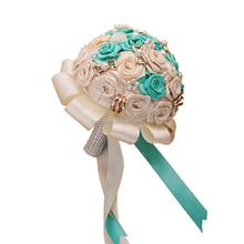 Luxury Flower Fashion Weding supplies Pearl Diamond Bridge Article flower Holding flowers Weding decoration 20cm Green/ white